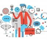 Career opportunity flat line illustration
